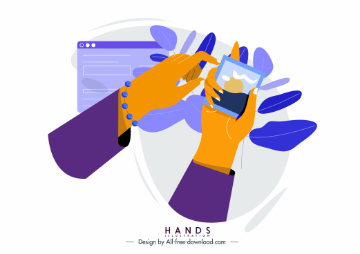 hand using smartphone icon colored classical design
