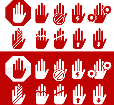 hand warning icon vector