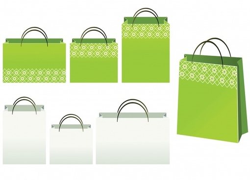 shopping bag icons 3d colored design