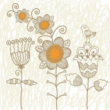 nature drawing petals birds sketch flat retro design