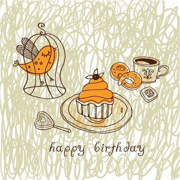 birthday background handdrawn classic bird cage cakes sketch
