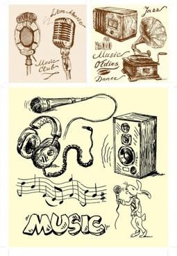 handdrawn clip art sound equipment