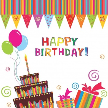 handdrawn elements of the trend vector birthday