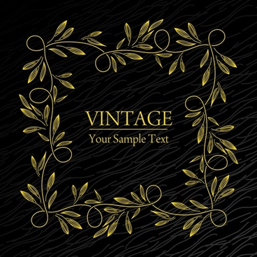 vintage frame template handdrawn seamless leaf decor