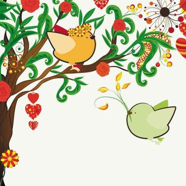 handdrawn illustration love birds 01 vector