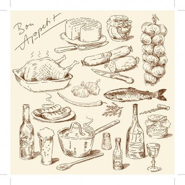 cooking design elements retro handdrawn symbols sketch