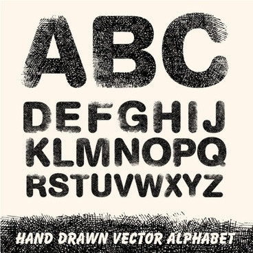 handdrawn line draft letters vector