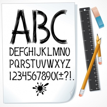 education banner handdrawn alphabet ruler pencil eraser icons