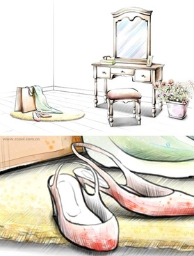 handdrawn style interior decoration psd layered images 11
