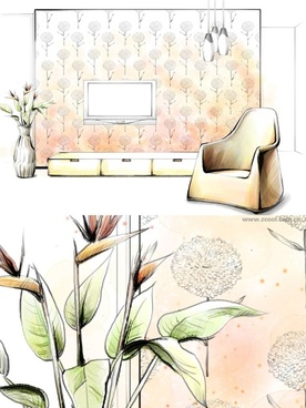 handdrawn style interior decoration psd layered images 12