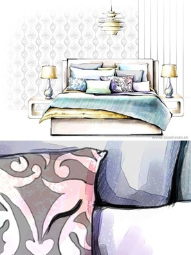 handdrawn style interior decoration psd layered images 13