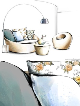handdrawn style interior decoration psd layered images 15