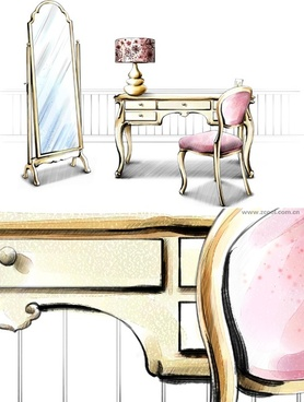 handdrawn style interior decoration psd layered images 16