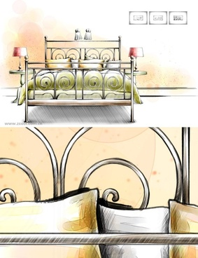 handdrawn style interior decoration psd layered images 17