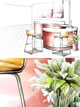 handdrawn style interior decoration psd layered images 19