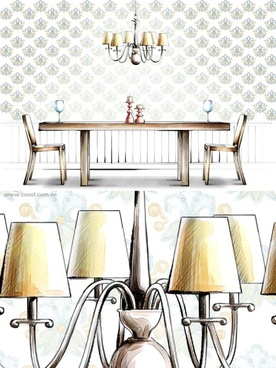 handdrawn style interior decoration psd layered images 20