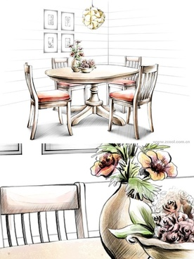 handdrawn style interior decoration psd layered images 26