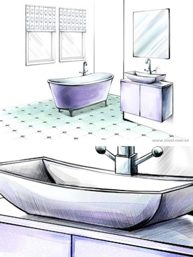 handdrawn style interior decoration psd layered images 27