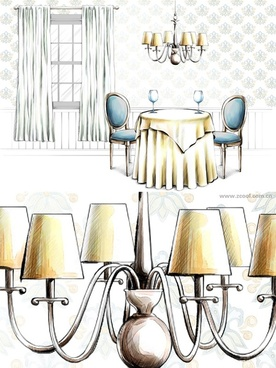 handdrawn style interior decoration psd layered images 28