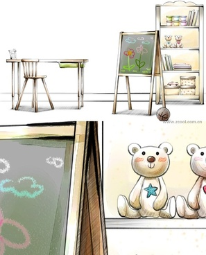handdrawn style interior decoration psd layered images 29