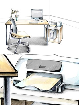 handdrawn style interior decoration psd layered images 34