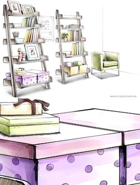 handdrawn style interior decoration psd layered images 37