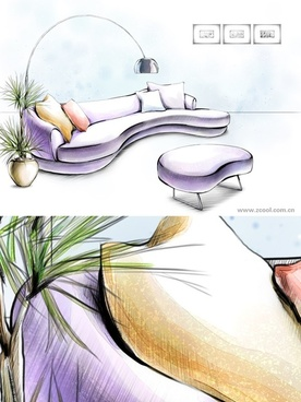handdrawn style interior decoration psd layered images 39