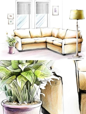 handdrawn style interior decoration psd layered images 3