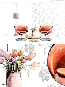 handdrawn style interior decoration psd layered images 4