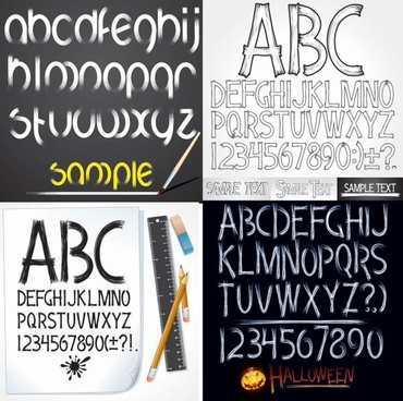 handdrawn style of the english alphabet vector