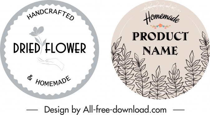 handicraft product labels flat handdrawn retro floral decor