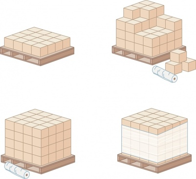 handling work icons 3d pallet tools cubic objects