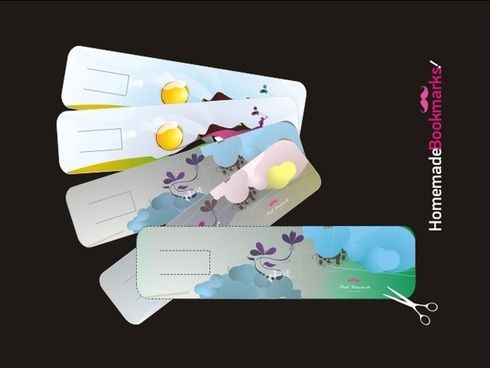homemade bookmarks collection vector illustration on horizontal style