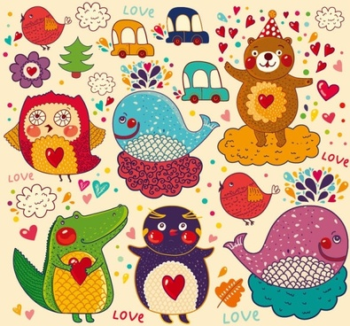 handpainted cartoon pattern 01 vector