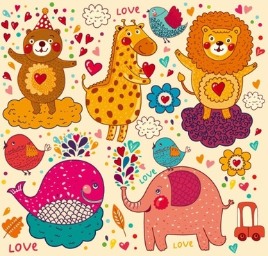 handpainted cartoon pattern 02 vector