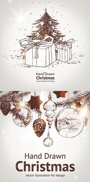 handpainted christmas element vector