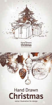 christmas banner fir tree baubles icons handdrawn sketch