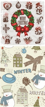 handpainted christmas ornaments vector