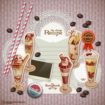 handpainted dessert stickers 01 vector