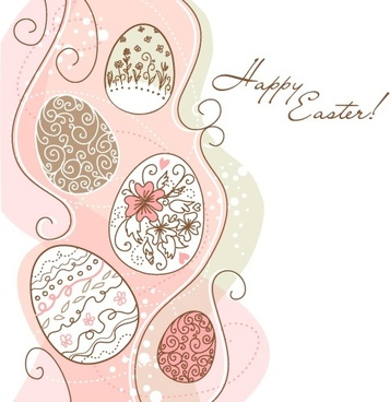 handpainted easter pattern 01 vector