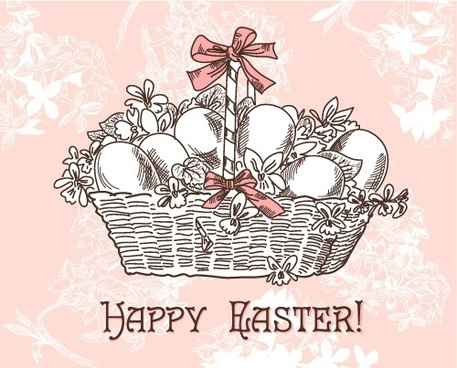 handpainted easter pattern 02 vector