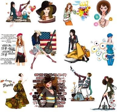 handpainted female fashion png images