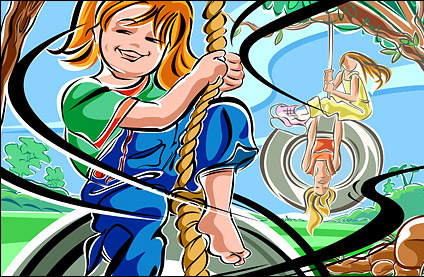 Hand-painted figures illustrations - swing, girls