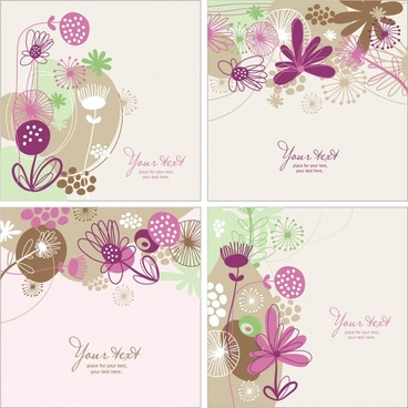flowers background templates colored classical flat sketch