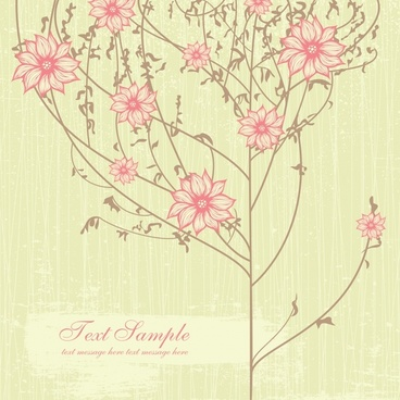 spring background blooming flowers tree sketch classical design