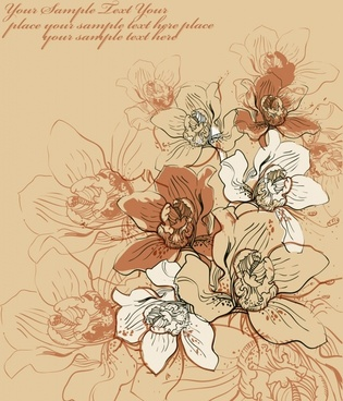 flower background classic handdrawn petals sketch