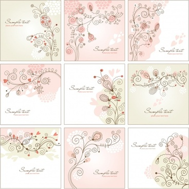card background templates classical handdrawn flora decor