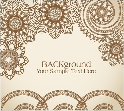 traditional floral background template elegant retro flat design