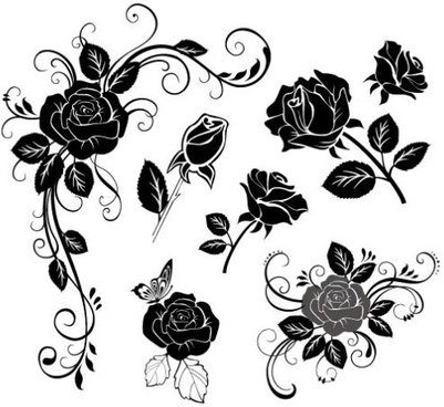 handpainted flowers 02 vector