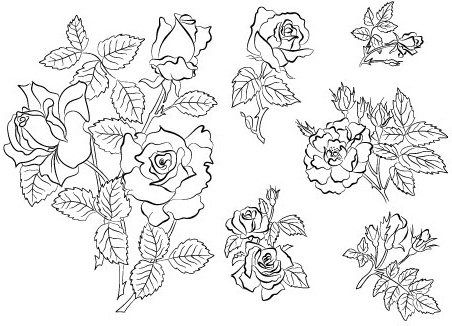 handpainted flowers 04 vector